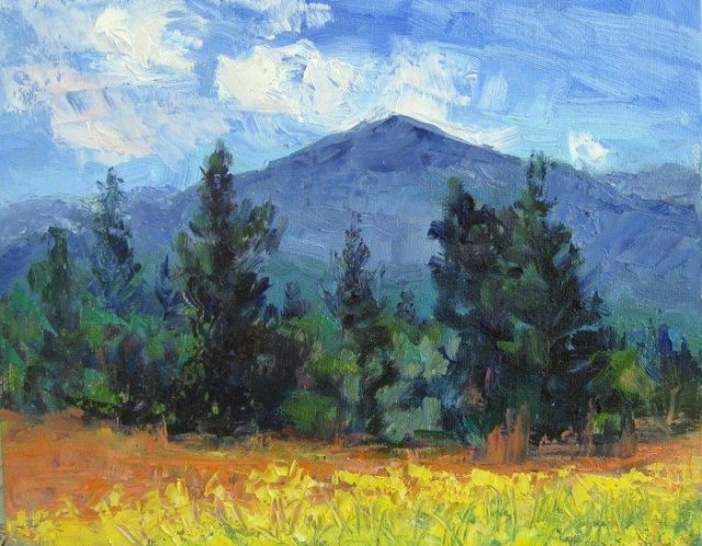 """Sacred Mustard"" Plein air oil painting by Silvia Trujillo, Ashland, Oregon 2014"