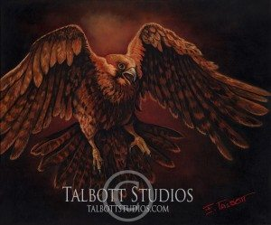 Red Tailed Hawk, 24 x 20 oil painting of a red tailed hawk in flight by Eugenia Talbott