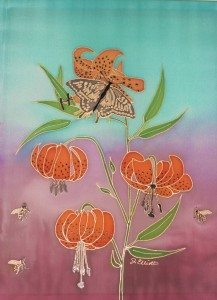 Oregon Tiger Lilies with Bees and Butterfly, by Judy Elliott