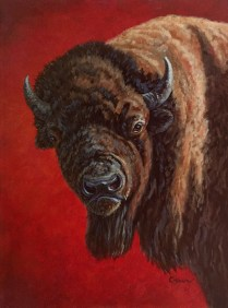 Seeing Red, Oil painting of a buffalo with red background by artist Linda Cruz