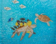 Sea Turtles, hand painted silk by Judy Elliott