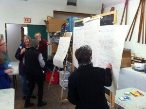 Participants in the last Community Meeting contribute ideas for the Arts Alliance slogan