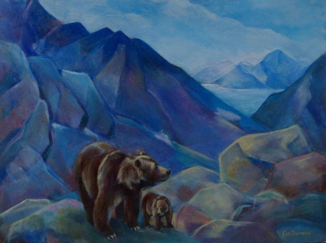 New Day, abstract painting of Alaskan brown bears by Eva Thiemann