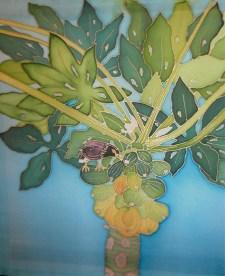 Mynah Bird in Papaya Tree, hand painted silk by Judy Elliott