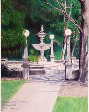 The Fountain at Noon, pastel painting by Leif Trygg