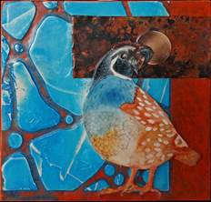 Mixed Media Works of Pam Haunschild: Quail Moon, by Pam Haunschild