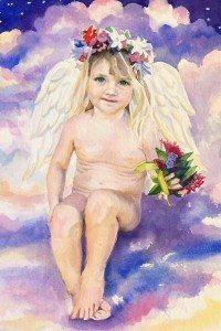 """""""My Little Angel,"""" 18"""" x 22"""" watercolor by Linda Stevenson"""