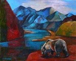 Alaskan Brown Bear, original oil painting by Eva Thiemann