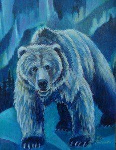 Northern Lights, original oil painting by Eva Thiemann