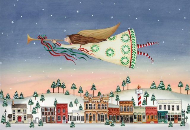 Christmas Angel over Jacksonville, painting by Katharine Gracey