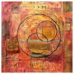 Mixed Media Works by Jessica Lee at GoodBean Coffee : Eclipse, Mixed media painting by Jessica Lee