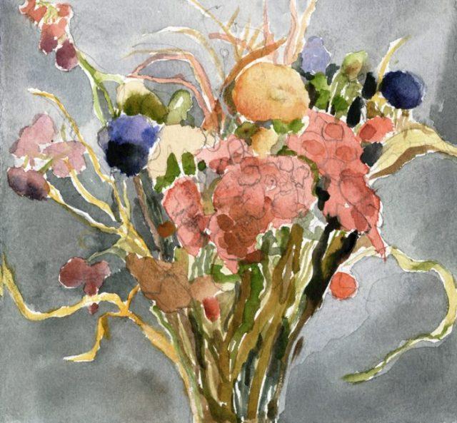 Dried Flowers watercolor Joan Franklin December 2016