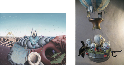Left: Micah Ofstedahl, STRANGE PARADISE 1920, acrylic Right: Leona Keene Sewitsky, SHIP OF FOOLS, assemblage sculpture