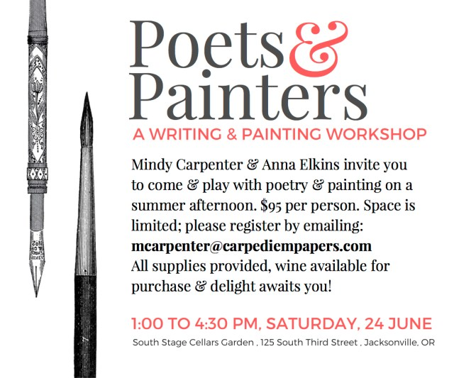 poets and painters workshop with Mindy Carpenter and Anna Elkins 6/24/17 at South Stage Cellars