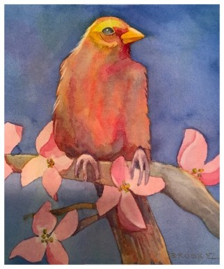 Bird and Dogwood, watercolor by Anne Brooke