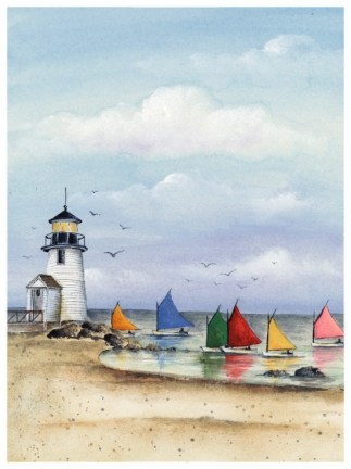 Rainbow Fleet on Nantucket Island, painting by Katharine Gracey