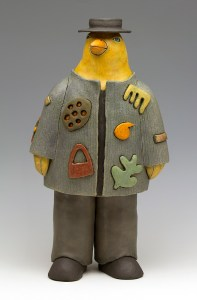 Phat Chick, ceramic sculpture by Sara Swink