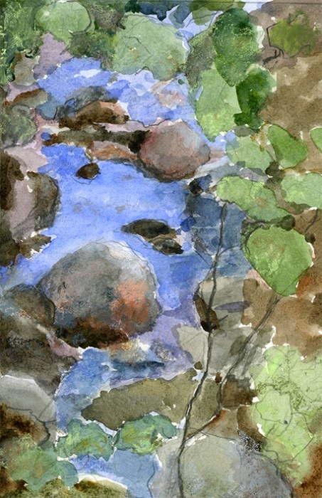 Creek View, watercolor paitning by Joan Franklin
