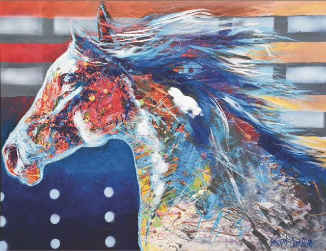 Horse, painting by Farrell Cockrum on exhibit at American Trails Gallery, Ashland, Oregon during September 2017