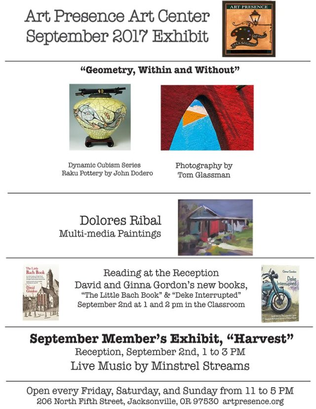 Art Presence September 2017 exhibits and author readings at reception