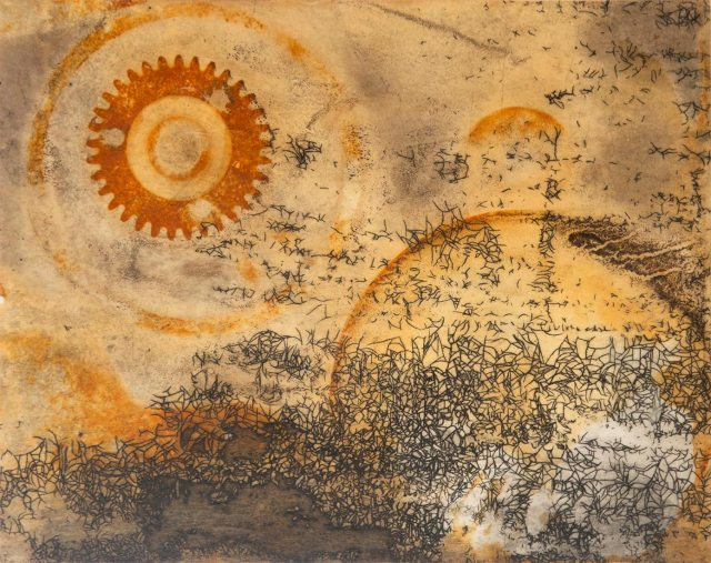 """ . . . and so it begins again,"" etching with rust by Tiffany Hokanson"