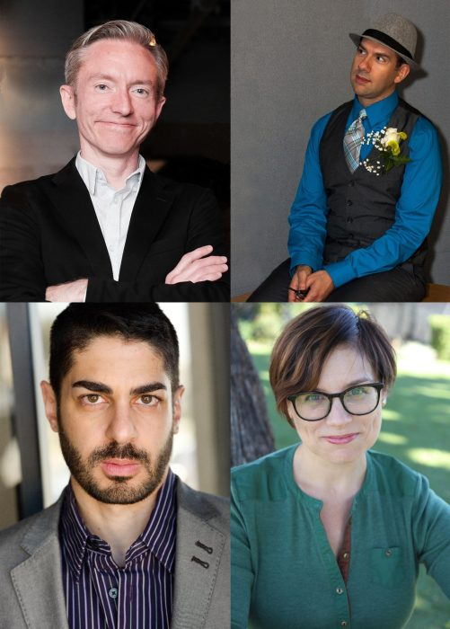 ANPF 2018 playwrights, clockwise from top left: Nate Eppler, Ian August, Stephanie Alison Walker, and Victor Lesniewski.