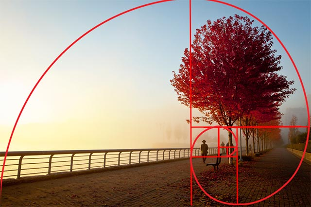 The Golden Ratio in Art, illustration showing how the Golden Ratio was used to establish the composition in a photograph