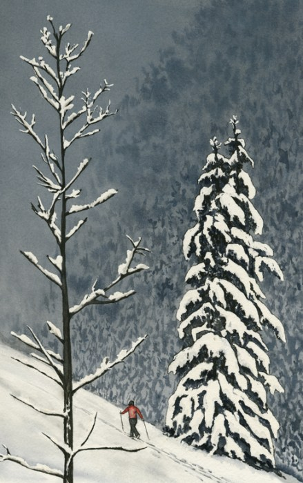 "Paula Fong, ""Snowscape"" watercolor with pen and ink at Creekside Pizza"