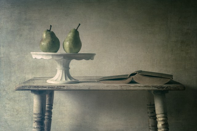 "Debra Harder, ""Two Pears and a Book"", photograph"