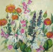 Silvia Trujillo oil paitning of a flower bouquet