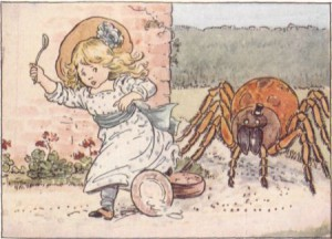 Little Miss Muffet running from a ridiculously over the top spider. From Project Gutenburg (http://www.gutenberg.org/files/19993/19993-h/19993-h.htm#page9b)
