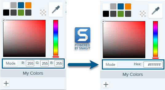 Screenshot showing how to switch color modes in Snagit, from RGB to Hex