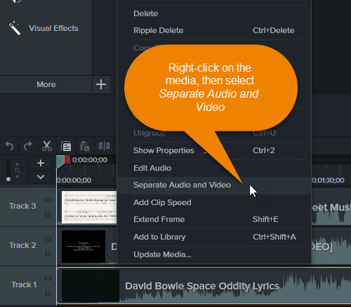 Screenshot showing how to separate audio and video in Camtasia.