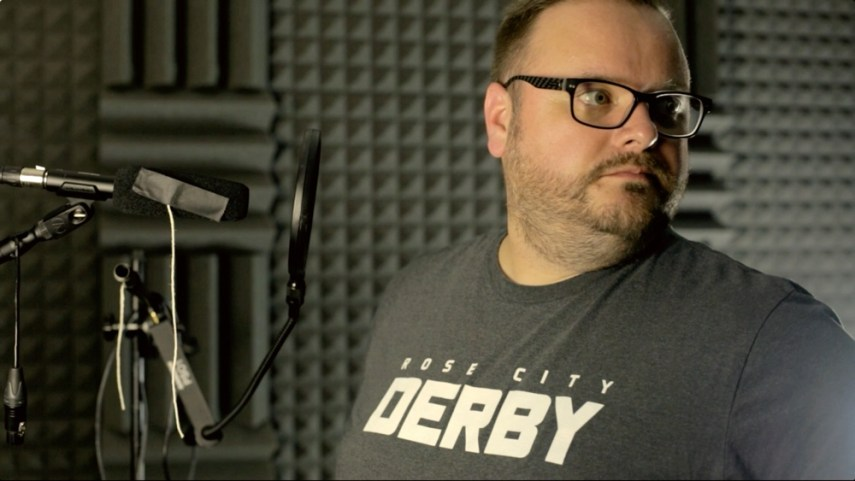 Testing out microphones for video and narration in the TechSmith Studio