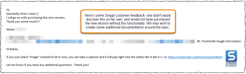 Screen capture of email showing customer feedback