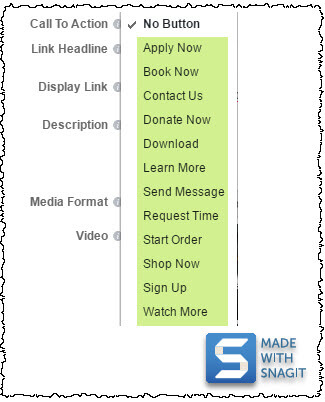 screenshot showing Facebook page post user interface and available call to action buttons