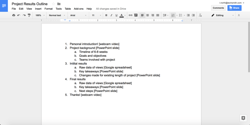 Prepare a screencast outline before recording