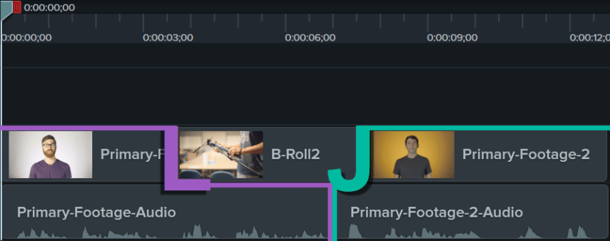 L-cut followed by a J-cut on the Camtasia timeline.
