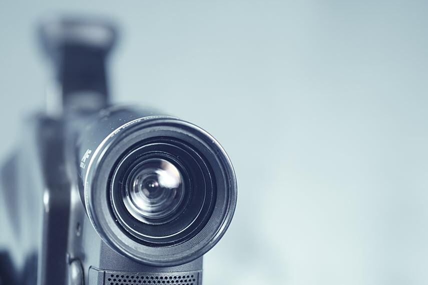 video camera lens close up