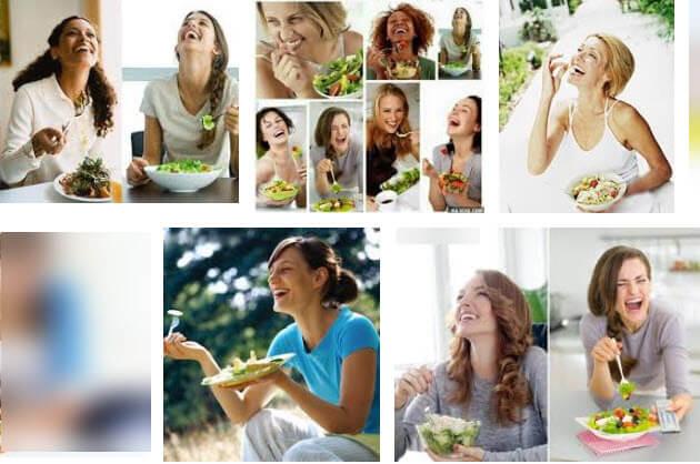 Beispiel schlechter Bilder: Abbildungen von Frauen, die lachend Salat essen.