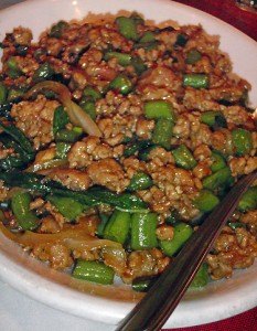 ground pork sauteed with green beans, onions and Thai basil