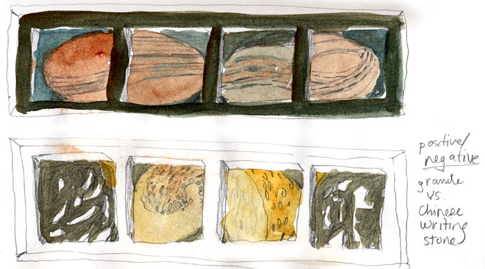 sketch of panels of orangy stone images