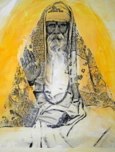 transfer of Indian holyman blessing on painted canvas board