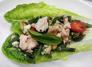 fresh grilled tuna and two-bean salad with mint dressing
