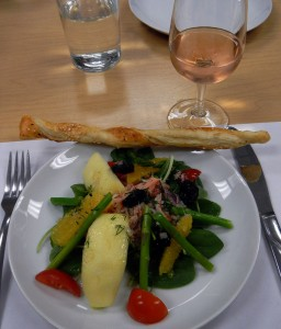 the Crab & Asparagus Salad is served with a Puff Pastry Twist and Brut Rosé wine