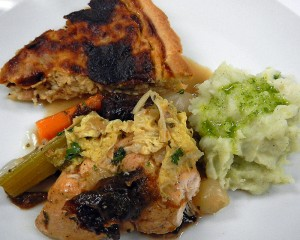 the Entree: Chicken with Cabbage & Prunes, and Chive Oil Mashed Potatoes