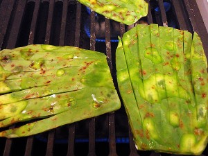 the nopales are cut into 'hands' and grilled