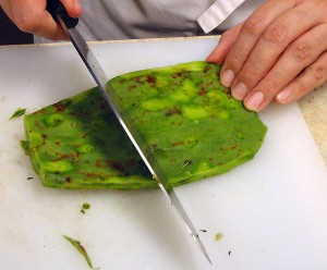 removing the spines from the nopales