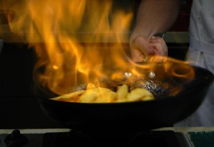 the apples 'flambé'ing