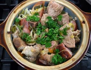 Baeckenofe, a meaty Alsatian stew
